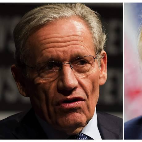 Woodward (à esquerda) disse a Trump que tentou várias vezes entrevistá-lo para o livro, durante telefonema em agosto Foto: AFP
