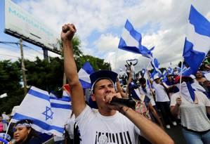 Em agosto de 2016, Edwin Carcache participa de marcha contra governo de Daniel Ortega; ele foi detido no mês seguinte em batida policial Foto: INTI OCON / AFP