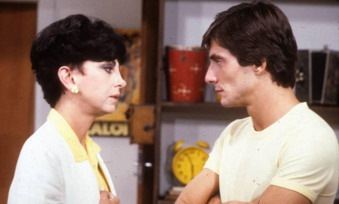A atriz contracena com Fábio Junior na novela 'Água viva' em 1980 Foto: Adir Mera / Agência O Globo.