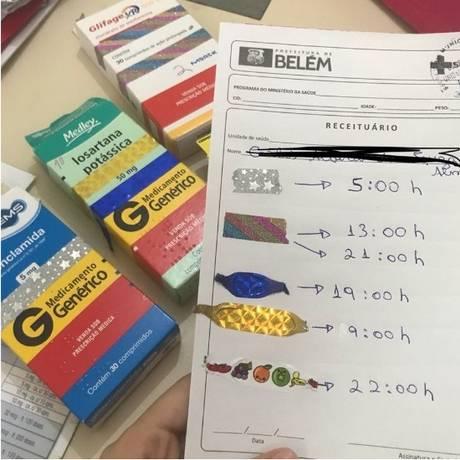 Como paciente não sabe ler, médica usou fitas coloridas para fazer referência a medicamentos Foto: Reprodução/Twitter