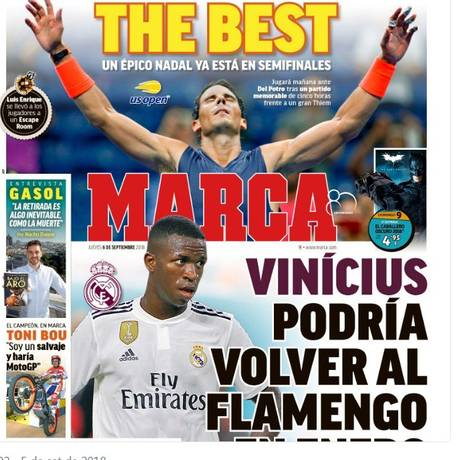 Vinícius Jr. poderia voltar ao Flamengo em janeiro Foto: Reprodução