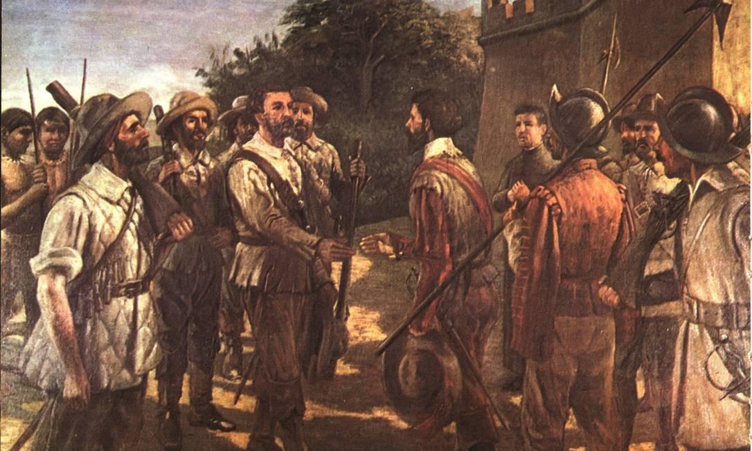Tela mostra missão de Raposo Tavares (à direita, segurando o chapéu): bandeirante contribuiu para a expansão das fronteiras brasileiras Foto: Reprodução