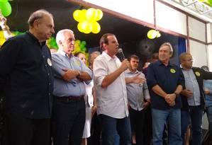 Cesar Maia, Comte Bittencourt, Eduardo Paes e o prefeito de Cabo Frio, Dr. Adriano Foto: Bernardo Mello / Agência O Globo