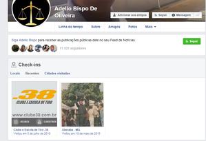 Facebook de Adélio mostra visita ao clube de tiro Foto: Reprodução Facebook