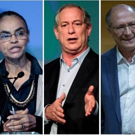 Os pré-candidatos à Presidência Marina Silva (Rede), Ciro Gomes (PDT) e Geraldo Alckmin (PSDB) Foto: Arquivo O GLOBO
