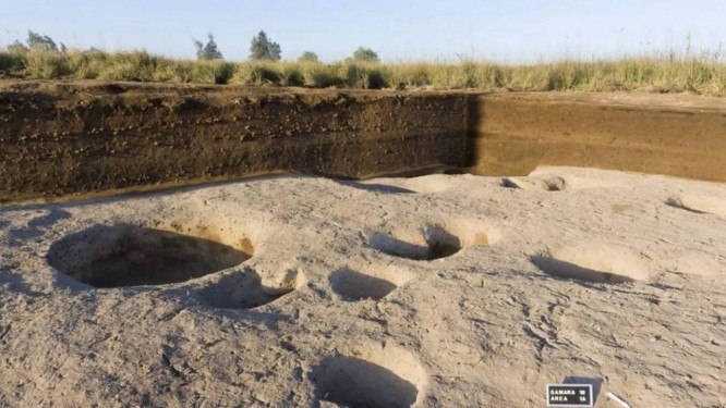 Restos da aldeia encontrada por arqueólogos no delta do Nilo Foto: Divulgação/Ministério de Antiguidades do Egito