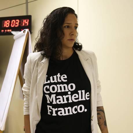 Monica Benício, após encontro com o ministro da Segurança Pública, Raul Jungmann Foto: Givaldo Barbosa/Agência O Globo/31-08-2018