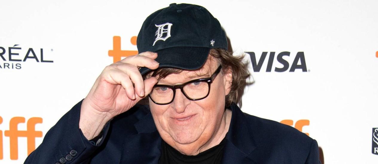 O cineasta americano Michael Moore, no lançamento de 'Fahrenheit 11/9', no Festival Internacional de Toronto Foto: VALERIE MACON / AFP