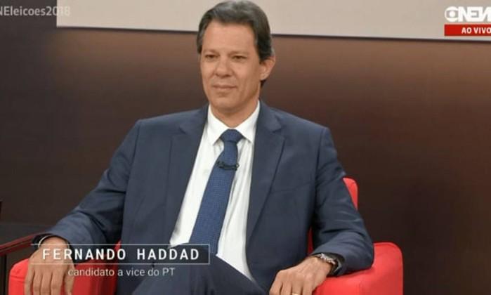 Fernando Haddad, em entrevista na Globonews Foto: Reprodução