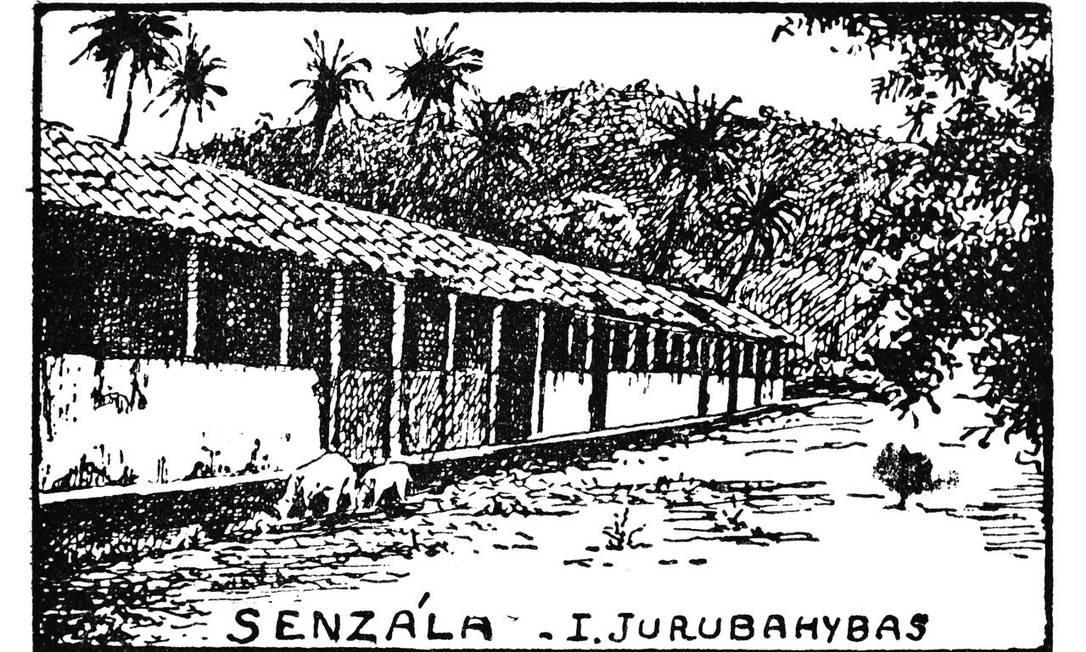 Antiga senzala na Ilha de Jurubahybas, em desenho de Armando Magalhães Corrêa Foto: Reprodução