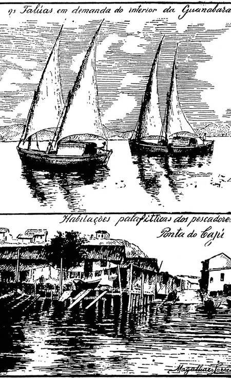 Barcos de pescadores e palafitas na Ponta do Cajú, de Armando Magalhães Corrêa Foto: Reprodução