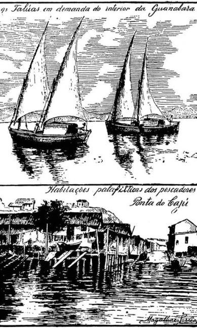 Barcos de pescadores e palafitas na Ponta do Cajú, de Armando Magalhães Corrêa Reprodução