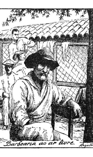 Em uma barbearia, tipos populares registrados por Armando Magalhães Corrêa Reprodução