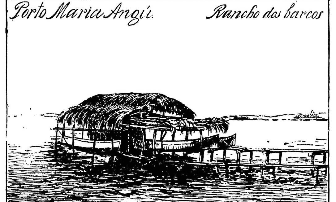 O porto e a praia de mesmo nome desapareceram. Era de onde Magalhães Corrêa partia para suas expedições pela Baía de Guanabara. Ficavam no atual bairro de Olaria, dentro de uma área da Marinha Foto: Reprodução