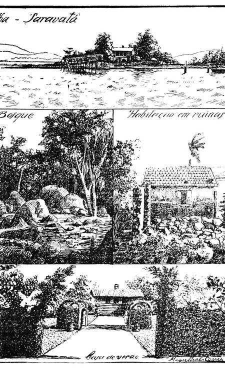 Saravatá, ilha paradisíaca nos anos 1930, depois aterrada e hoje sepultada sob Caju e Vigário Geral Foto: Reprodução