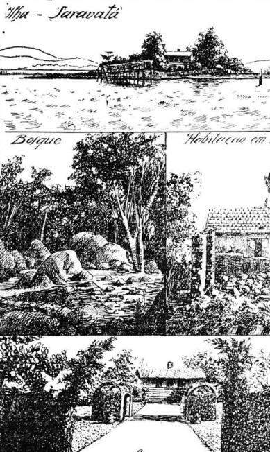 Saravatá, ilha paradisíaca nos anos 1930, depois aterrada e hoje sepultada sob Caju e Vigário Geral Reprodução