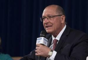 Geraldo Alckmin (PSDB), durante sabatina organizada por Estadão e FAAP Foto: Edilson Dantas / Agência O Globo (06/09/2018)
