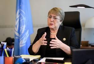 Ex-presidente do Chile e chefe dos Direitos Humanos na ONU, Michele Bachelet pediu revisão da sentença Foto: POOL / REUTERS