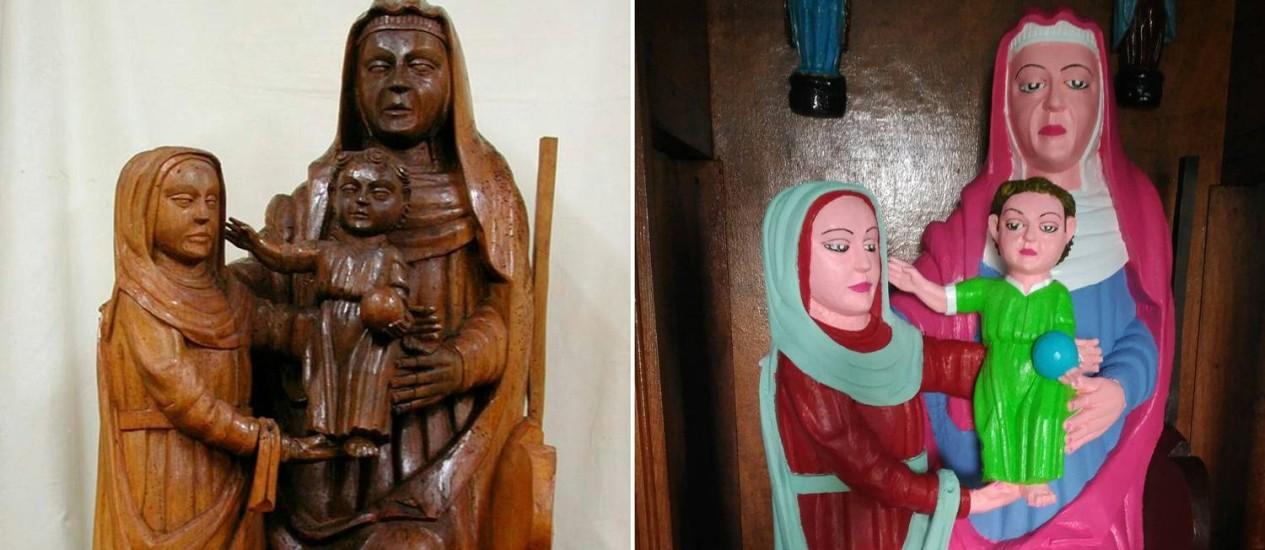 Fotos de antes e depois da 'restauração' das imagens do povoado de Rañadoiro Foto: DSF / AFP