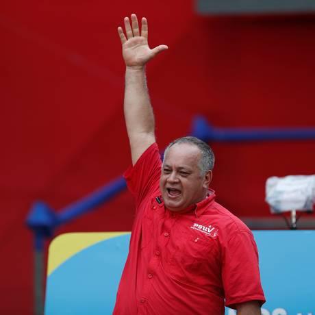 Presidente da Assembleia Nacional Constituinte (ANC), Diosdado Cabello, durante comício Foto: CARLOS GARCIA RAWLINS / REUTERS