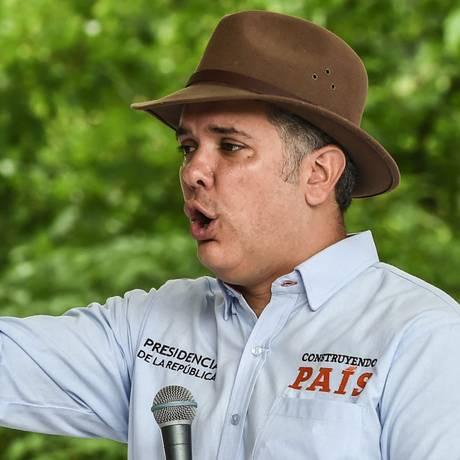 Presidente da Colômbia, Iván Duque: mandatário é acusado por guerrilha de dificultar acordos de paz Foto: JOAQUIN SARMIENTO / AFP