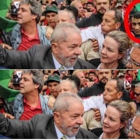Montagem colocou rosto de Adélio Bispo de Oliveira ao lado de Lula Foto: Reprodução