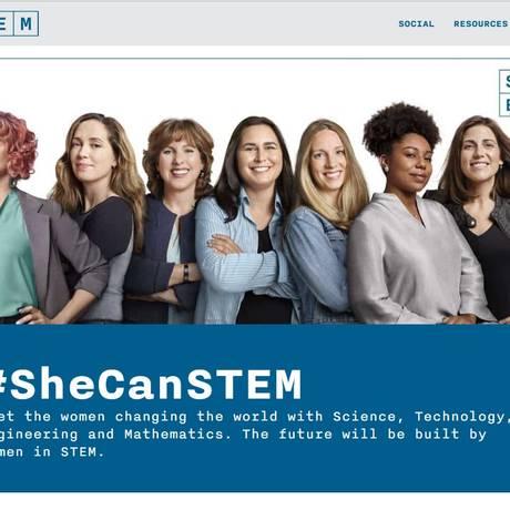 Site da campanha She Can STEM tem informações para pais e professores ajudarem no incentivo às meninas Foto: Reprodução