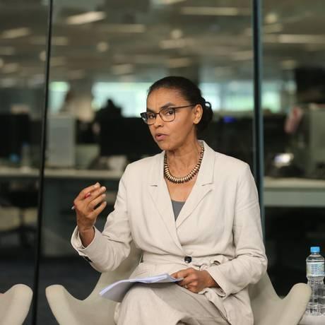 Marina Silva (Rede) participa de sabatina promovida pelo Jornal O Globo Foto: Marcia Foletto / Agência O Globo