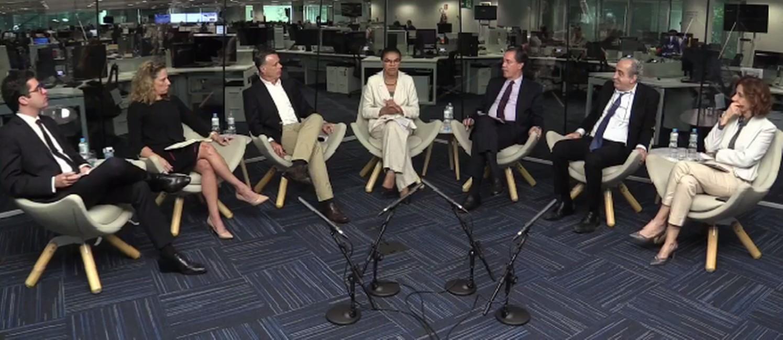A candidata Marina Silva é sabatinada por jornalistas de ÉPOCA, O Globo e Valor Econômico Foto: Reprodução