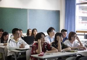 Aula em universidade de Pequim Foto: GIULIA MARCHI / NYT/20-5-2018