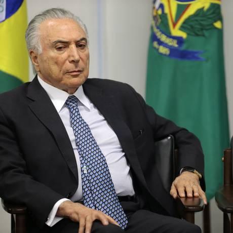 O presidente Michel Temer participa da cerimônia no Palácio do Planalto Foto: Jorge William/Agência O Globo/10-09-2018