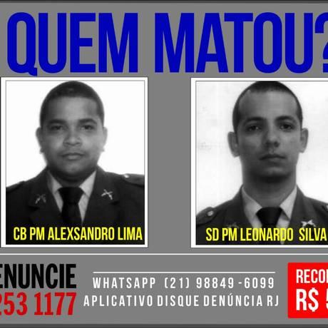 Cartaz estampa os rostos dos dois policiais Foto: Divulgação/Portal dos Procurados