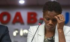 A advogada Valeria Lúcia dos Santos fala na OAB sobre o episódio que aconteceu no Fórum de Caxias Foto: Marcelo Regua