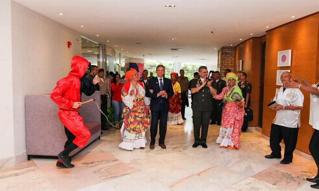 General brasileiro viajou sem integrantes do Itamaraty em razão do rompimento das relações diplomáticas entre os dois países Foto: Divulgação