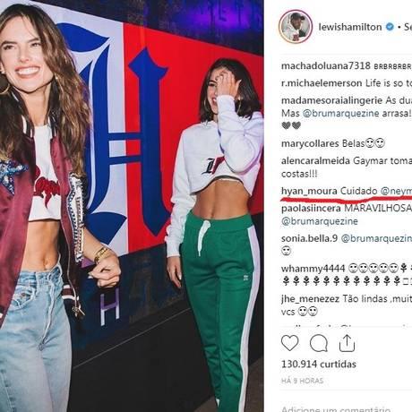 Alessandra Ambrosio e Bruna Marquezine. No detalhe, um dos alertas dos fãs de Neymar Foto: Reprodução