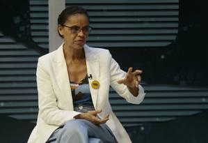 Marina Silva, durante entrevista à Rede Gênesis Foto: Jorge William / Agência O Globo