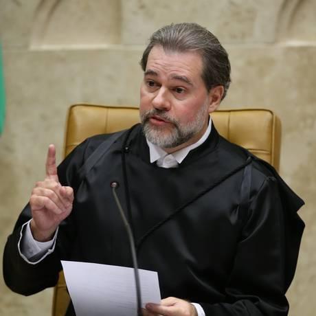 O ministro Dias Toffoli, durante sua posse na presidência do STF Foto: Ailton Freitas/Agência O Globo