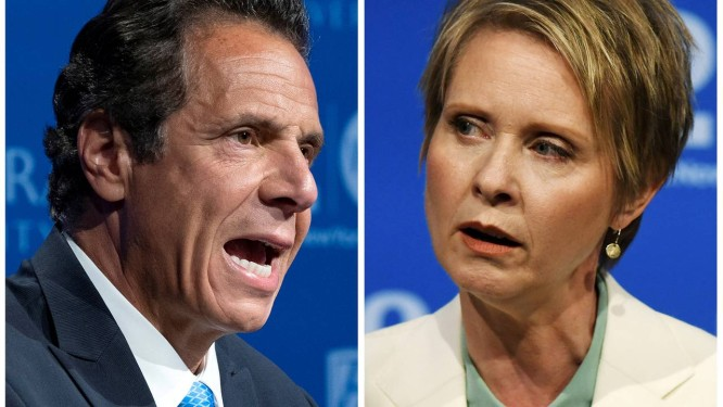 Andrew Cuomo e Cynthia Nixon. Forte campanha do governador de Nova York frustrou tentativa da atriz de concorrer na eleição estadual em novembro Foto: POOL / REUTERS