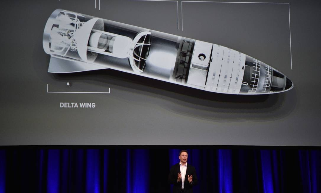 Imagem mostra Elon Musk apresentando seu projeto para levar passageiros ao espaço Foto: PETER PARKS / AFP