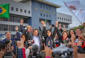Fernando Haddad no anúncio oficial de sua candidatura, em Curitiba. Um dos desafios é não criticar o governo da antecessora Dilma Rousseff Foto: Ricardo Stuckert / Flickr