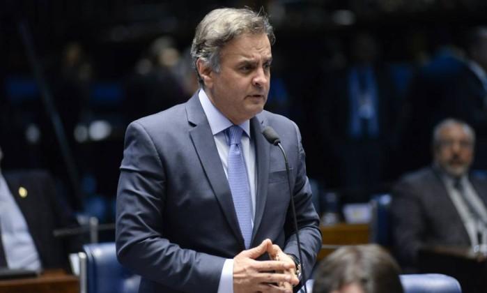 O senador Aécio Neves (PSDB-MG) discursa no plenário do Senado Foto: Jefferson Rudy/Agência Senado/04-09-2018