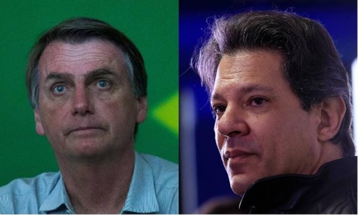 Os candidatos à Presidência Jair Bolsonaro (PSL) e Fernando Haddad (PT) Foto: Montagem sobre fotos de Edilson Dantas