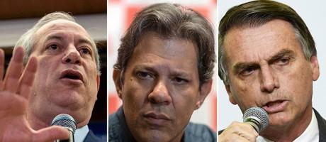 Os candidatos Ciro, Haddad e Bolsonaro Foto: Muaro Pimentel / AFP