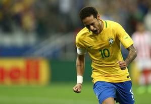 Neymar comemora um de seus gols pela seleção brasileira Foto: Lucas Figueiredo / Lucas Figueiredo/CBF