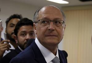 O candidato do PSDB à Presidência, Geraldo Alckmin, durante campanha em Brasília Foto: Givaldo Barbosa / Agência O Globo