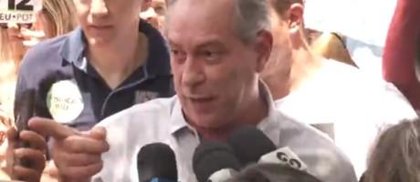 Ciro Gomes, candidato do PDT ao Planalto, xinga jornalista que trabalha em campanhas do MDB e do DEM Foto: Reprodução