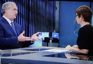 Ciro Gomes dá entrevista a Renata Lo Prete, do