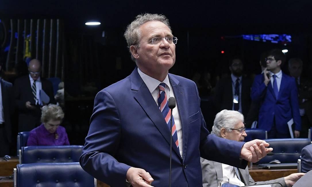 O senador Renan Calheiros (MDB-AL) discursa no plenário do Senado Foto: Waldemir Barreto/Agência Senado/04-09-2018