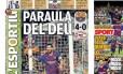 Messi nas manchetes dos jornais espanhóis nesta quarta-feira Foto: Reprodução