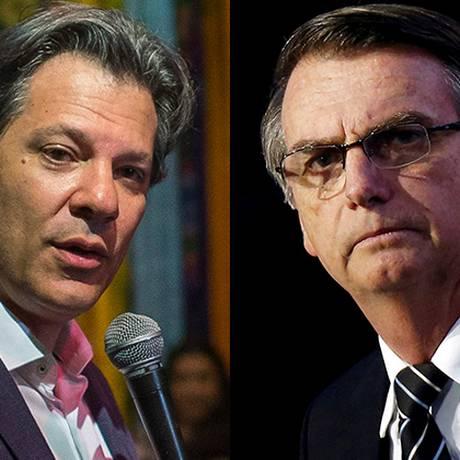 Os candidatos a presidente Fernando Haddad (PT) e Jair Bolsonaro (PSL) Foto: Arquivo O GLOBO